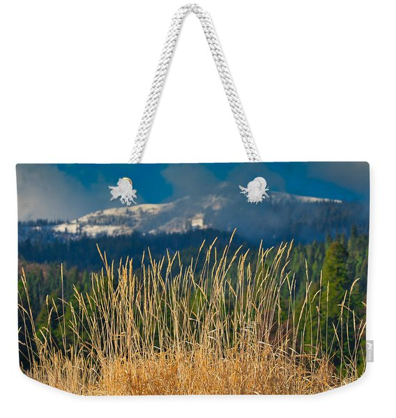 Gold Grass Snowy Peak Weekender Tote Bag