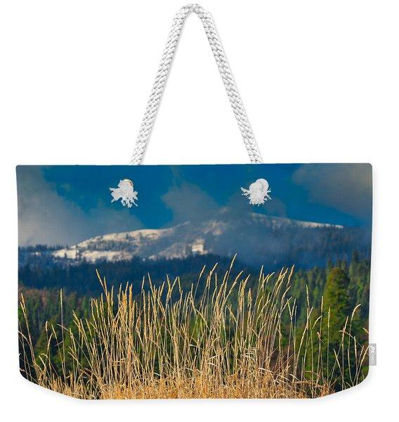 Gold Grass Snowy Peak Weekender Tote Bag