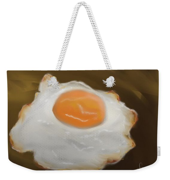 Weekender Tote Bag featuring the pastel Golden Fried Egg by Fe Jones