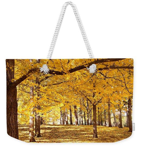Golden Ginkgo Weekender Tote Bag