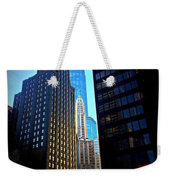 Golden Hour Reflections - City Of Chicago Weekender Tote Bag