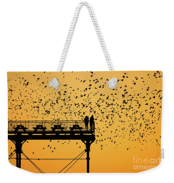 Golden Hour Starlings Over Aberyswyth Pier Weekender Tote Bag