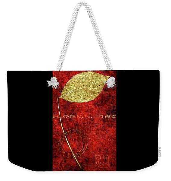 Golden Leaf On Bright Red Paper Weekender Tote Bag