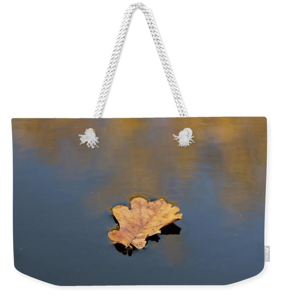 Weekender Tote Bag featuring the photograph Golden Leaf On Water by Scott Lyons