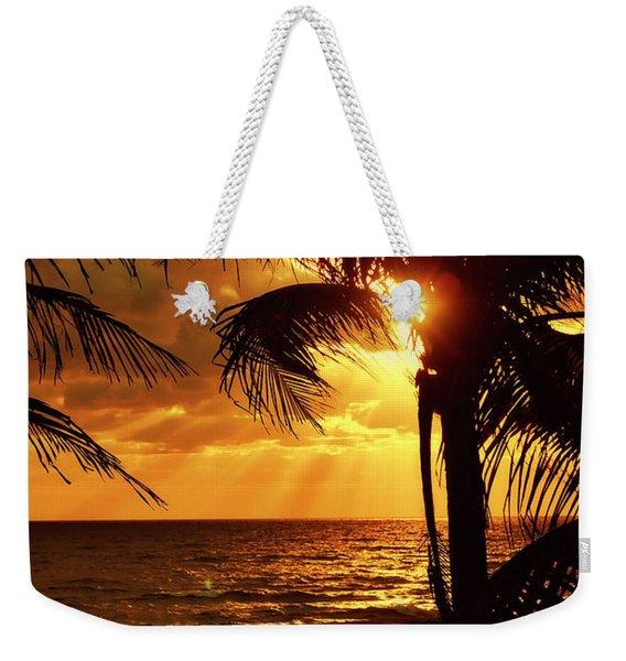 Golden Palm Sunrise Weekender Tote Bag