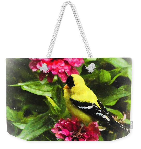Goldfinches Love Zinnias Weekender Tote Bag