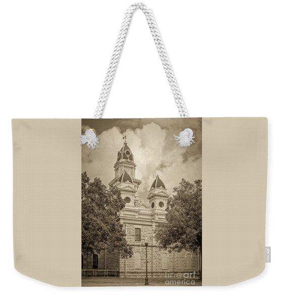 Goliad Courthouse In Sepia Weekender Tote Bag