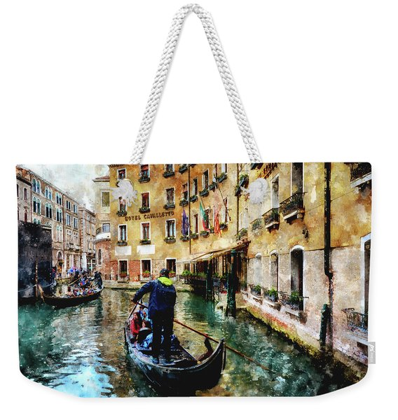 Gondola Traffic Near Piazza San Marco In Venice, Italy - Watercolor Effect Weekender Tote Bag