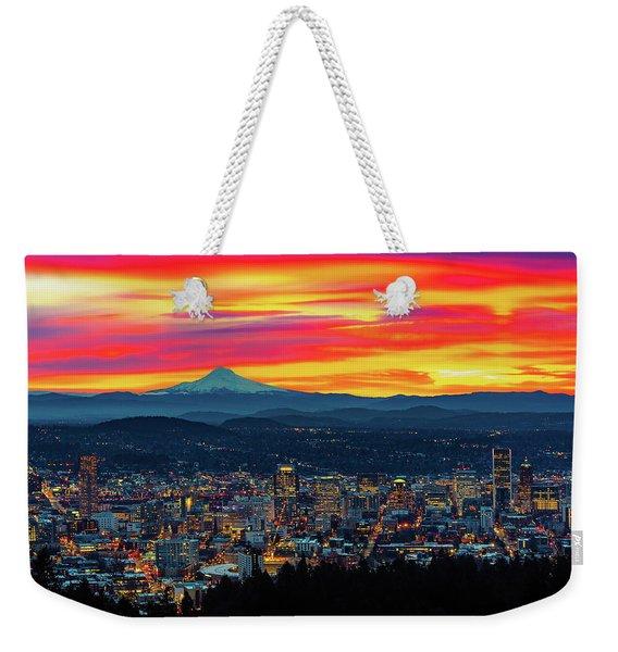 Good Morning Portland Weekender Tote Bag
