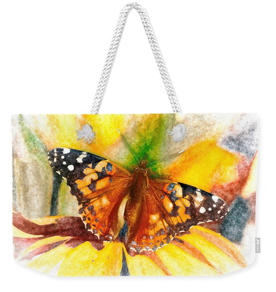 Weekender Tote Bag featuring the photograph Gorgeous Painted Lady Butterfly by Don Northup