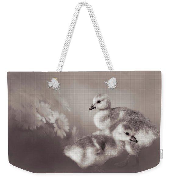 Goslings And Daisies - Sepia Weekender Tote Bag