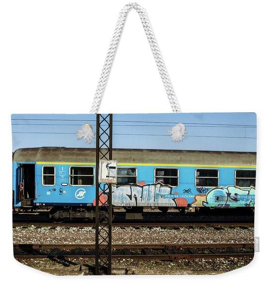Graffitied Train Weekender Tote Bag
