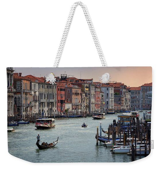Grand Canal Gondolier Venice Italy Sunset Weekender Tote Bag