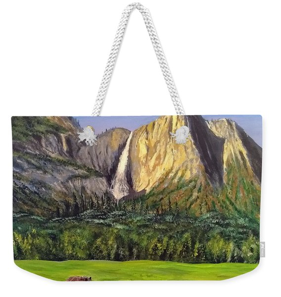 Weekender Tote Bag featuring the painting Grandeur And Extinction by Kevin Daly