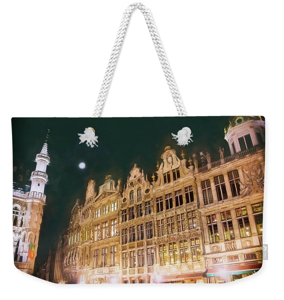 Grandeur Of The Grand Place Brussels By Night Weekender Tote Bag