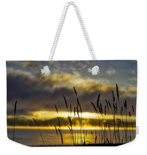 Grassy Shoreline Sunrise Weekender Tote Bag