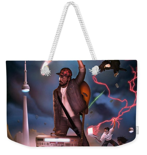 Weekender Tote Bag featuring the digital art Gravity Poster by Nelson Garcia