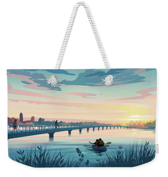 Weekender Tote Bag featuring the drawing Grays Lake by Clint Hansen