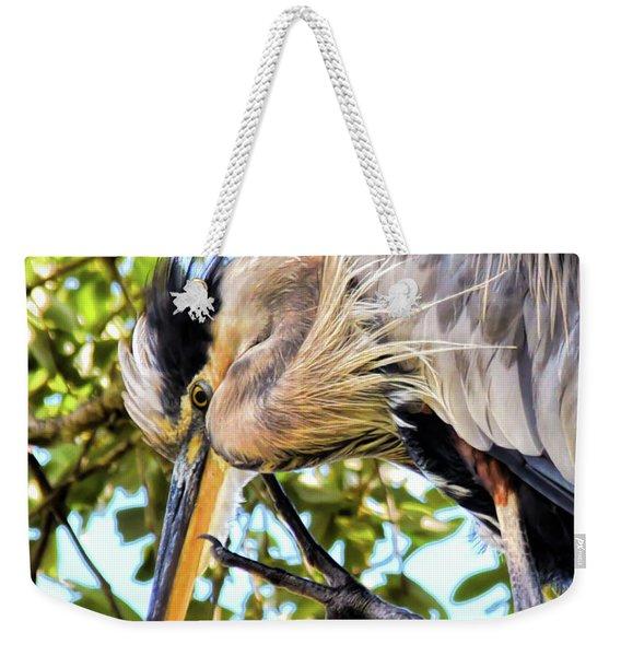 Great Blue Heron Close Up Weekender Tote Bag