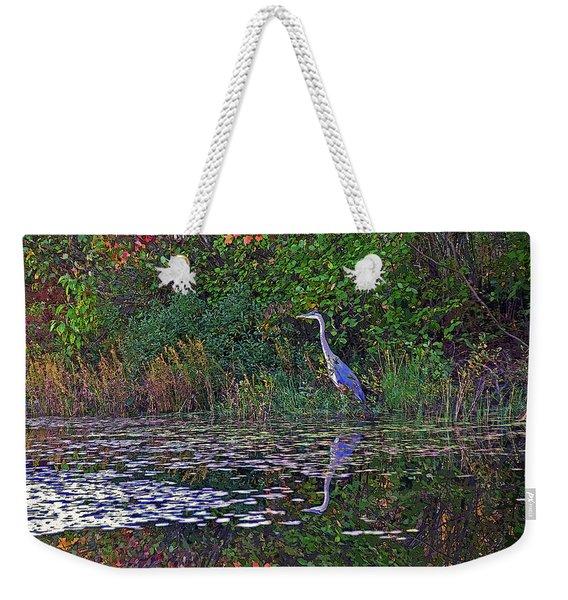 Great Blue Heron In Autumn Weekender Tote Bag