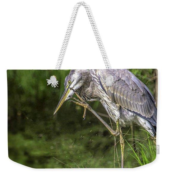 Great Blue Heron Itch Weekender Tote Bag