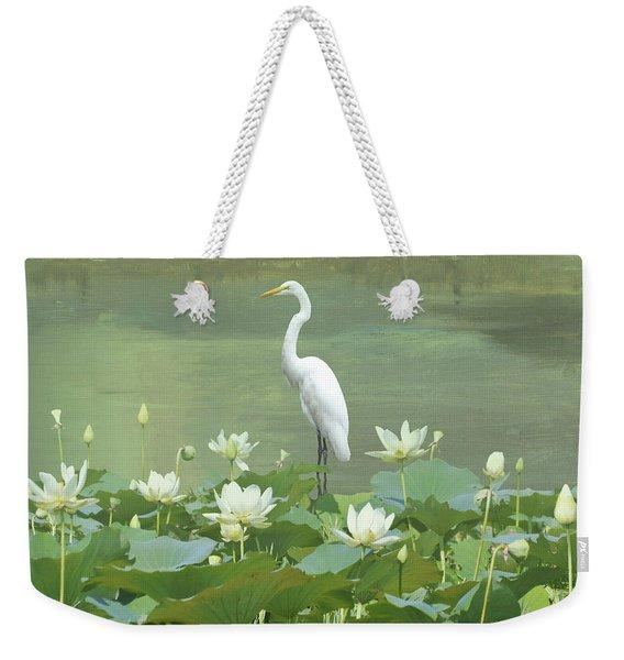 Great Egret And Lotus Flowers Weekender Tote Bag