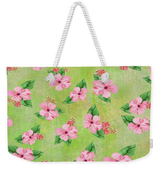 Green Batik Tropical Multi-foral Print Weekender Tote Bag