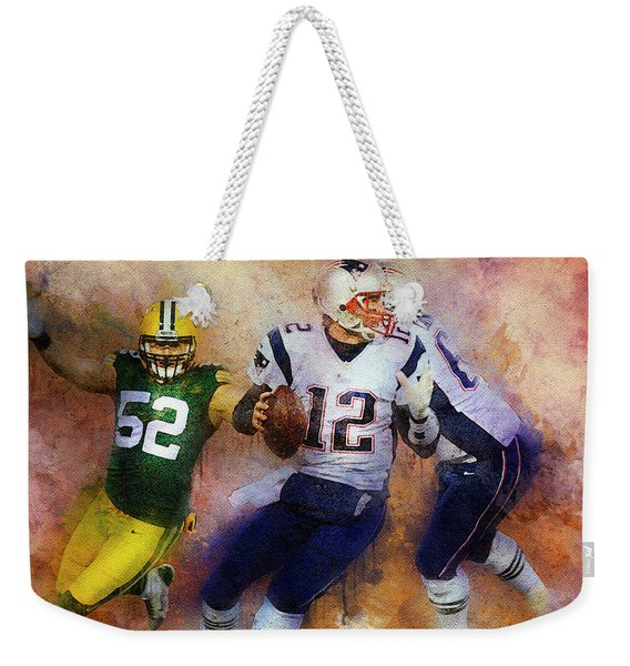 Green Bay Packers Against New England Patriots. Weekender Tote Bag