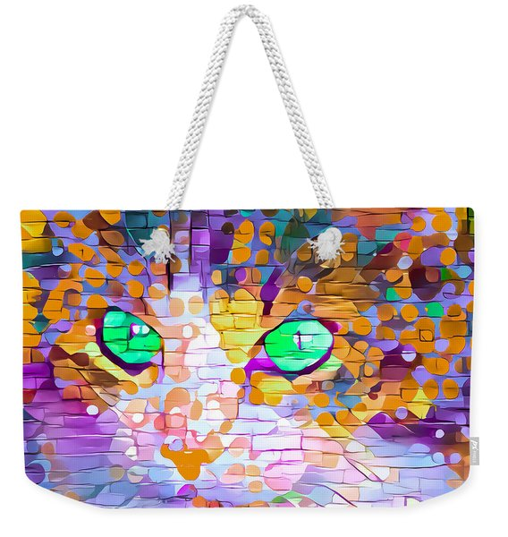 Green Eyed Cat Abstract Weekender Tote Bag