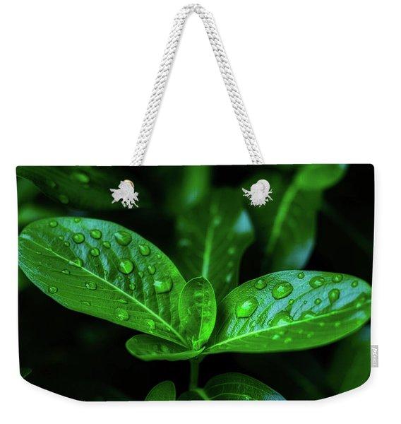 Green Leaf With Water Weekender Tote Bag
