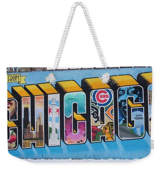 Greetings From Chicago Weekender Tote Bag