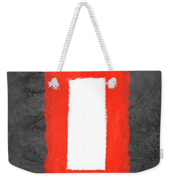 Grey And Red Abstract Iv Weekender Tote Bag