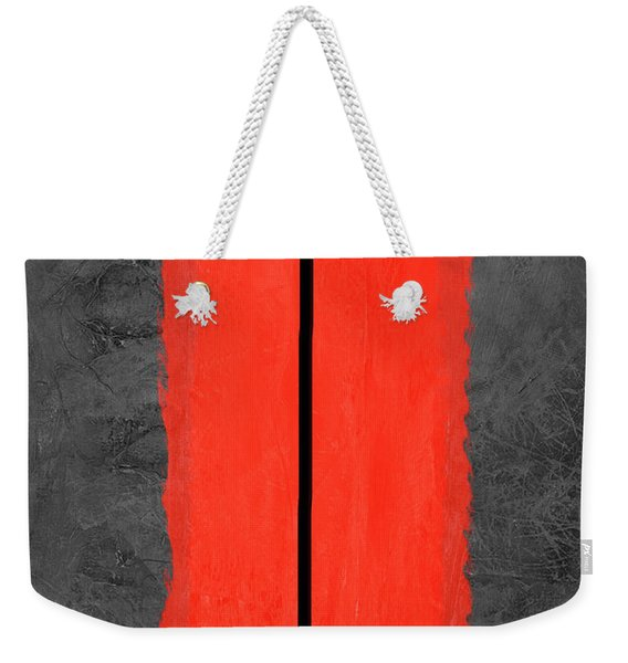 Grey And Red Abstract V Weekender Tote Bag