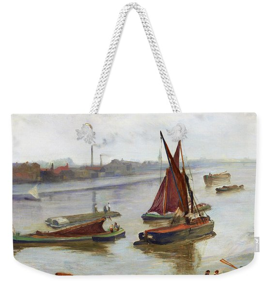 Grey And Silver, Old Battersea Reach -  Digital Remastered Edition Weekender Tote Bag