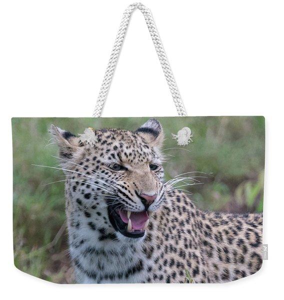 Grimacing Leopard Weekender Tote Bag