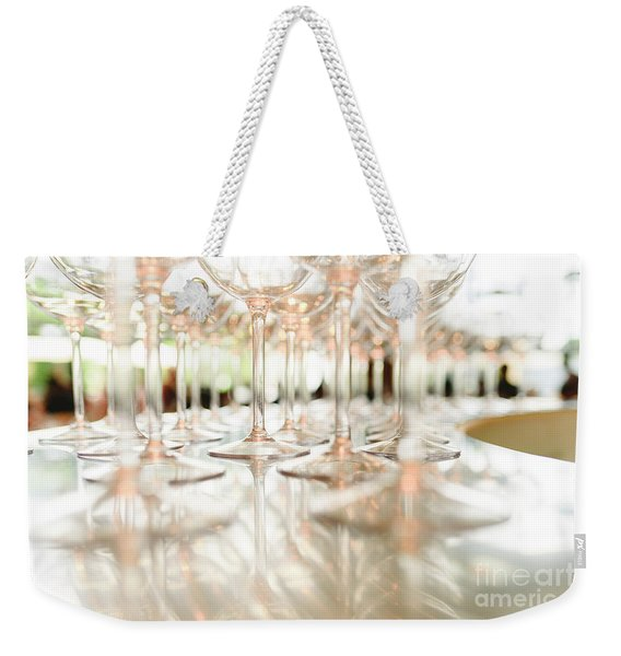 Group Of Empty Transparent Glasses Ready For A Party In A Bar. Weekender Tote Bag