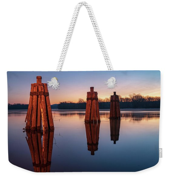 Group Of Three Docking Piles On Connecticut River Weekender Tote Bag