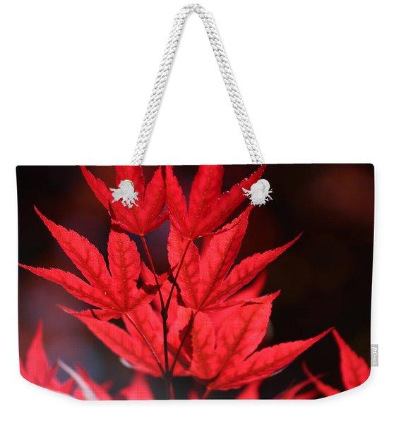 Guardsman Red Japanese Maple Leaves Weekender Tote Bag