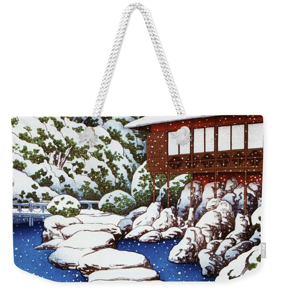 Guest House By The Pond In Snow, Scenes Of The Mitsubishi Fukagawa Weekender Tote Bag