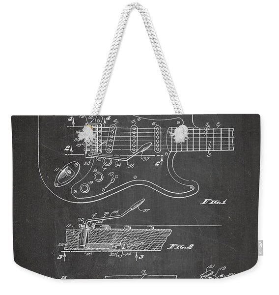Guitar Tremelo Patent, Fender Tremelo Art - Chalkboard Weekender Tote Bag