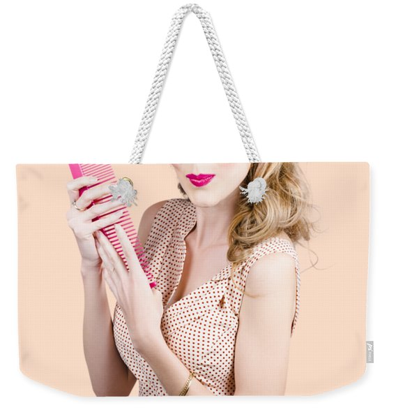 Hair Style Model. Pinup Girl With Large Pink Comb Weekender Tote Bag