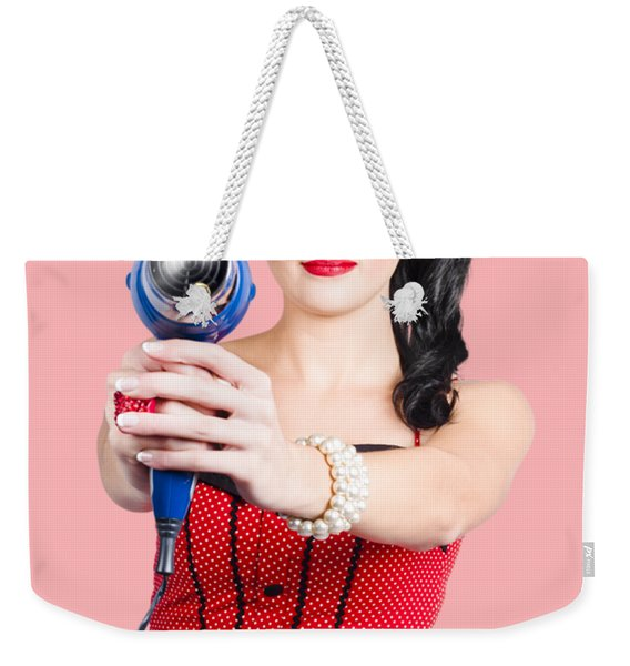 Hairdresser Woman Shooting A Cool Haircut In Style Weekender Tote Bag