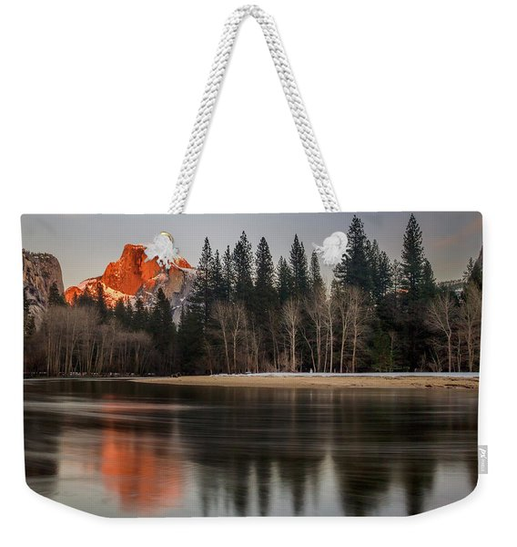 Half Dome Sunset In Winter Weekender Tote Bag