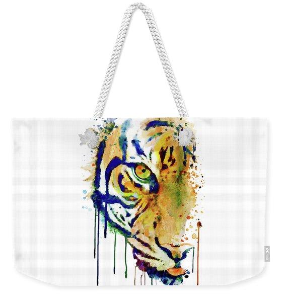 Half Faced Tiger Weekender Tote Bag