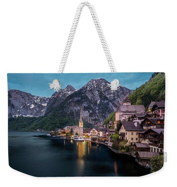 Hallstatt Village At Dusk, Austria Weekender Tote Bag