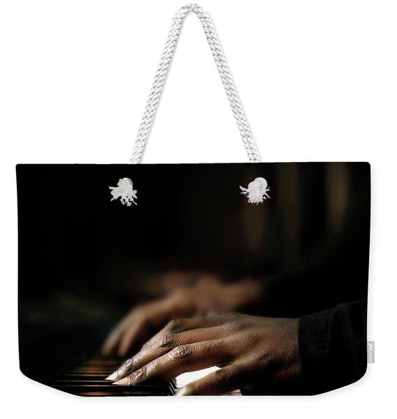 Hands Playing Piano Close-up Weekender Tote Bag