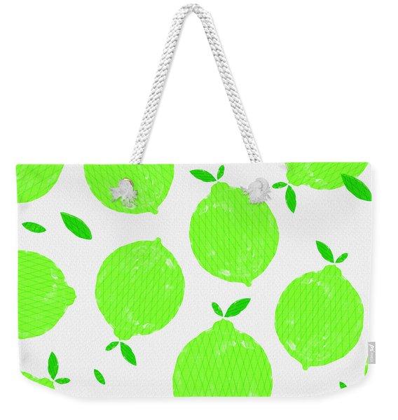 Happy Lime Print Weekender Tote Bag