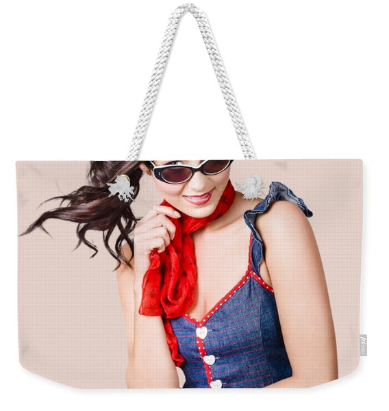 Happy Smiling Young Pinup Girl In Rockabilly Style Weekender Tote Bag