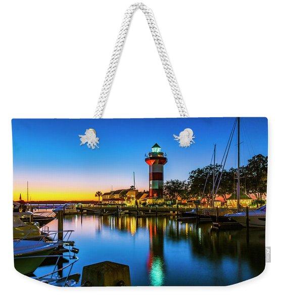 Harbor Town Lighthouse - Blue Hour Weekender Tote Bag