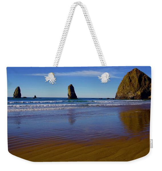 Haystack Rock Panoramic Weekender Tote Bag